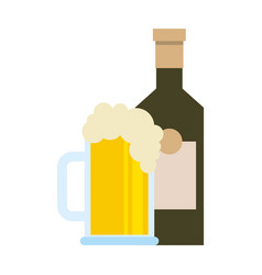 bottle and beer glass beverage isolated design vector image