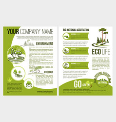 brochure for eco environment company vector image