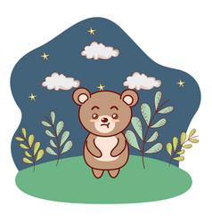 Brown bear outdoors nighttime landscape cartoon vector