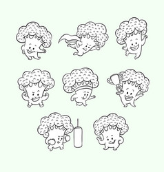 cartoon broccoli characters set vector image
