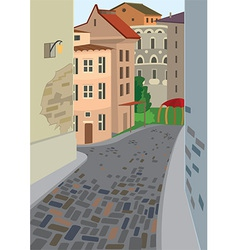 Cartoon street of old town vector