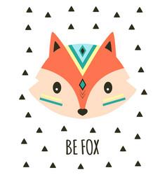 Cartoon tribal cute fox card vector