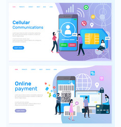 Cellular communication and online payment website vector