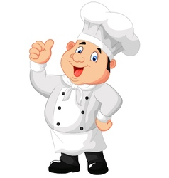 Chef cartoon giving thumb up vector image