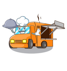 chef with food food truck festival on shape vector image