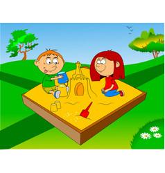 Children in sandbox vector
