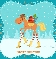 Christmas card with horse in cowboy hat and boots vector