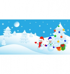 Christmas in the winter forest vector image