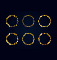 collection round golden frames from laurel vector image