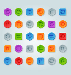 Colorful website turn reload buttons design vector
