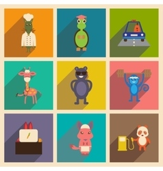 Concept flat icons with long shadow animals vector