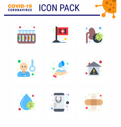 Coronavirus awareness icons 9 flat color icon vector