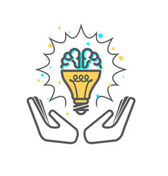 Creative idea - light bulb and brain icon vector