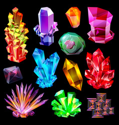Crystal crystalline stone gem and precious vector