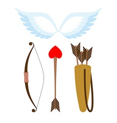 Cupid weapons set bow and arrow with heart quiver vector