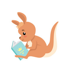 Cute baby kangaroo sitting and reading book brown vector