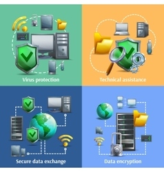 Data encryption and security icons set vector image