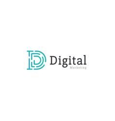 digital marketing monogram dashes letter d vector image