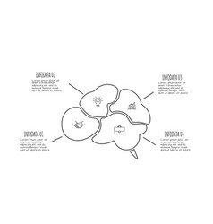 doodle brain infographic elements with 4 options vector image