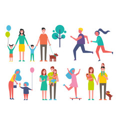 Family and couple jogging vector