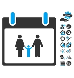Family Calendar Day Icon With Bonus vector