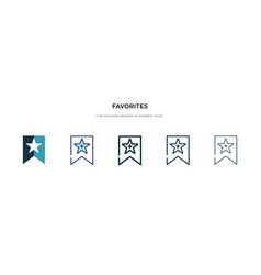 Favorites icon in different style two colored vector