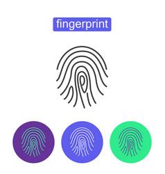 Fingerprint access outline icons set vector