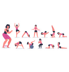 fitness and yoga sportive young woman doing vector image