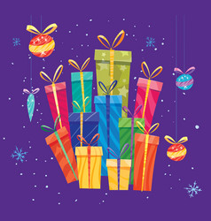 flat cartoon gift for new years vector image