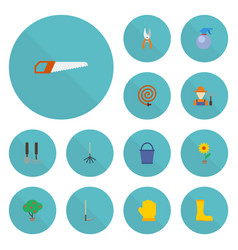 Flat icons tools flowerpot latex and other vector
