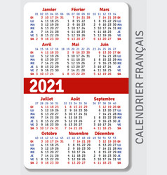 french calendar grid for 2021 vector image
