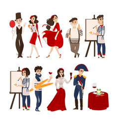 French people mimes artists historical figures vector