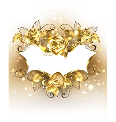 Gold Banner with Gold Roses vector