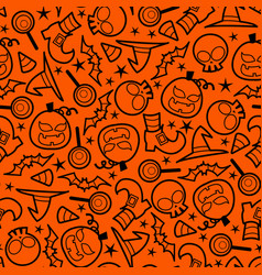 Halloween doodle seamless pattern background vector
