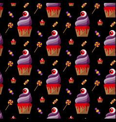 halloween spooky cupcake vector image