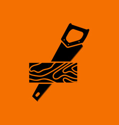 Handsaw cutting a plank icon vector