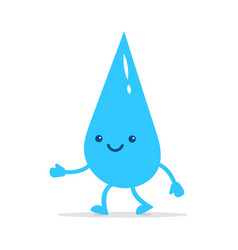happy little water drop cute character vector image