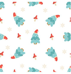 holiday seamless pattern with christmas trees and vector image