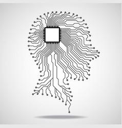 Human head cpu circuit board vector