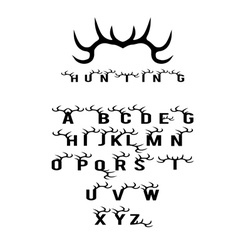 hunting alphabet with horns vector image