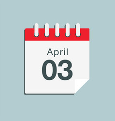 icon day date 3 april template calendar page vector image