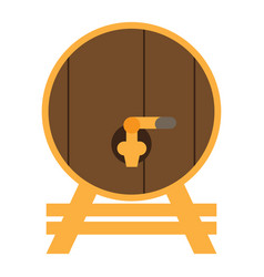 isolated wooden beer barrel vector image