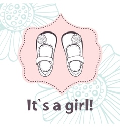 It s a girl Lovely baby shower card with cute vector image
