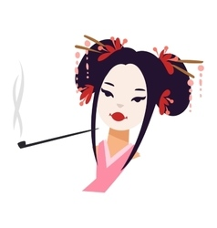 Japanese geisha girl vector