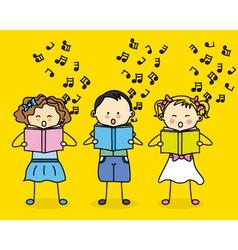 Kids singing vector
