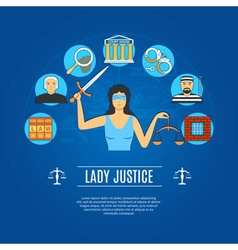 Lady Justice Concept Icons vector