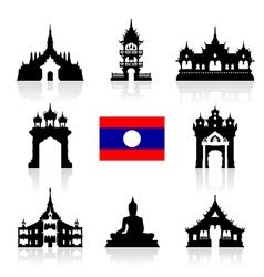 Laos Icon Travel Landmarks vector
