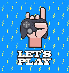 lets play joystrick with love hand sign backgroun vector image