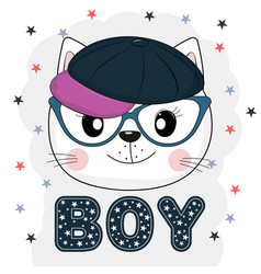 lovely cat face in glasses vector image