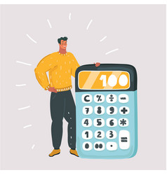 man with big calculator vector image